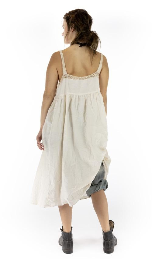 Cotton Silk Bellisima Slip with Cotton Lace Details and Snaps at Side, Magnolia Pearl