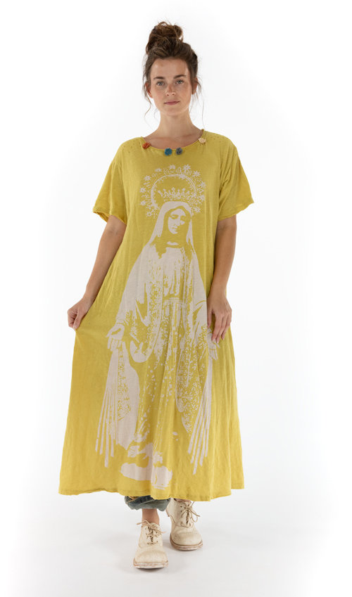 Cotton Jersey Crown Of Our Lady T Dress with Pom Pom Detail at Neckline, Boyfriend Cut, Magnolia Pearl