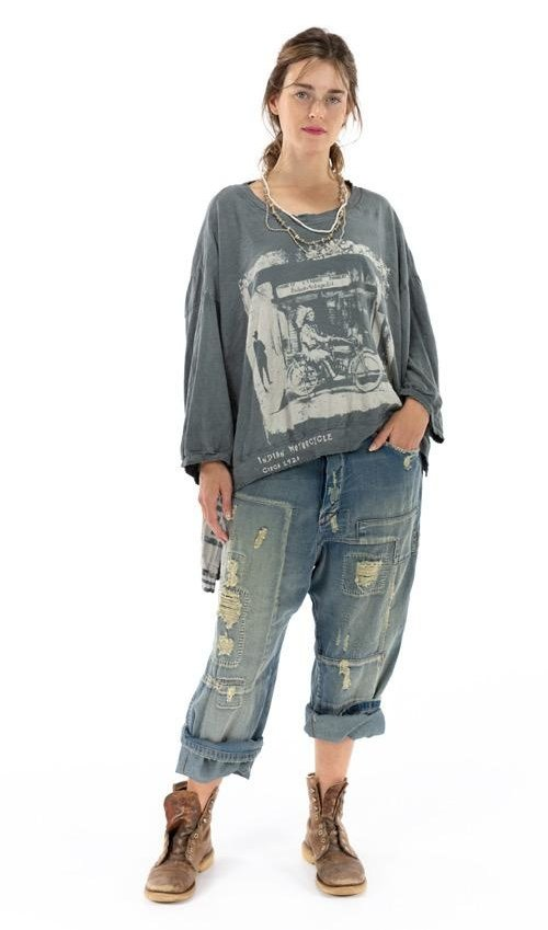 Cotton Jersey Oversized Hi Lo Indian Moto Francis Pullover with Distressing and Fading, Magnolia Pearl