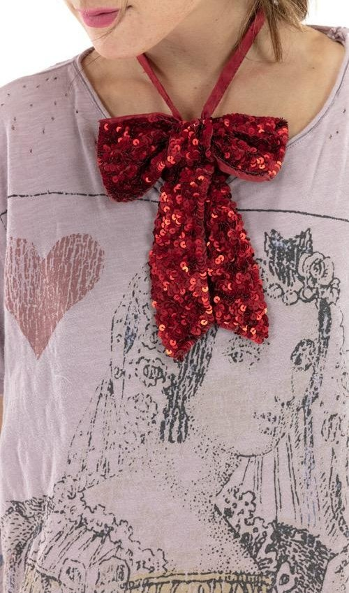 Cotton Silk Sequin Louis Bowtie with Snap Closures, Magnolia Pearl