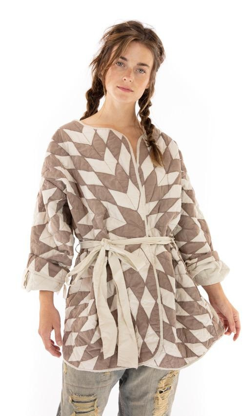 Cotton Quilted Aleda Coat with Hand Distressing, Belt Tie and Printed Lining, Magnolia Pearl