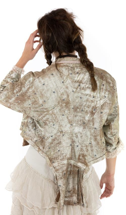 All Leather Metallic Inna Jacket with Raw Edges, Distressing and Antique Hooks, Magnolia Pearl
