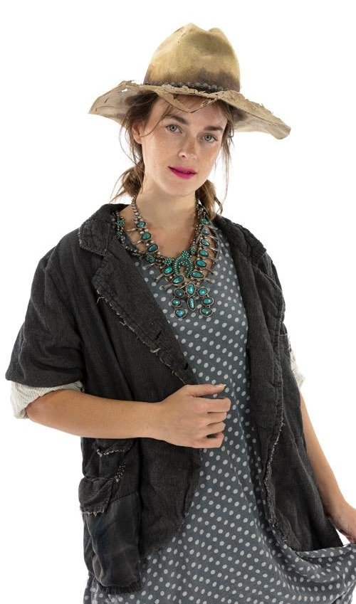Cotton Patchwork Saffi Jacket with Hand Mending and Distressing, Mixed Buttons, Magnolia Pearl