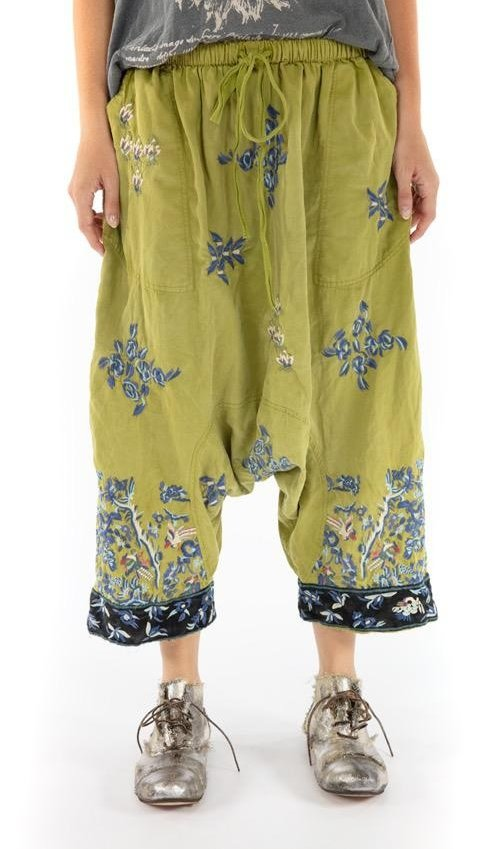 Cotton Satin Embroidered Isabeau Garcon Trousers with Drawstring and Elastic Waist, Distressed Edges, Magnolia Pearl