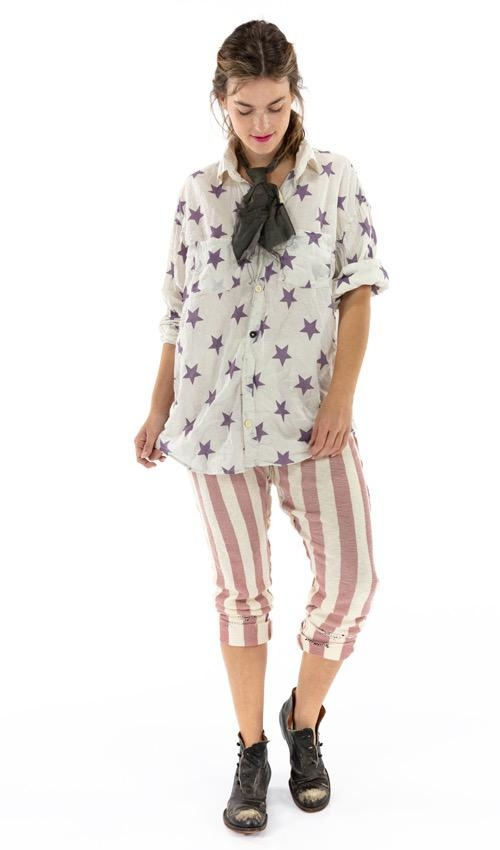 Cotton Jersey Knit Whistlestop Underjohns with Drawstring Back, Button Fly, Adjustable Sides and Hand Mending, Magnolia Pearl