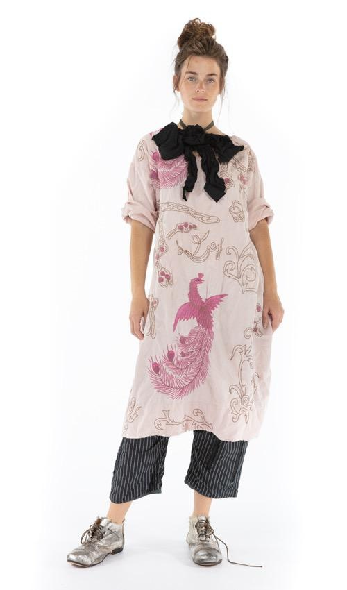 Cotton Satin Dragon Embroidered Parnassus Tunic with Distressing, Fading and Shortened Back, Magnolia Pearl