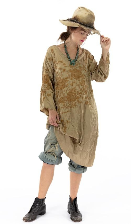 Cotton Satin Embroidered Parnassus Tunic with Distressing, Fading and Shortened Back, Magnolia Pearl