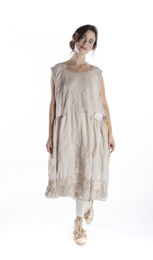 European Cotton Embroidered Seraphina Dress with Lace and Handmade Tattered Flowers, Magnolia Pearl