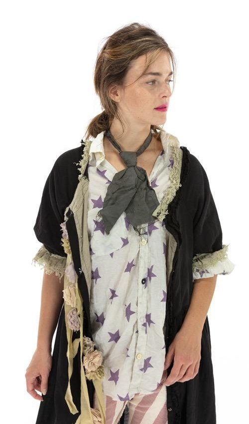 Cotton Twill Liza Ola Dress with Tattered Lace and Floral Details, Front Opening, Printed Lining, Hand Distressing and Fading, Magnolia Pearl