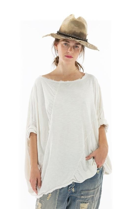 Cotton Jersey Oversized Florrie T with Hand Distressing, Magnolia Pearl
