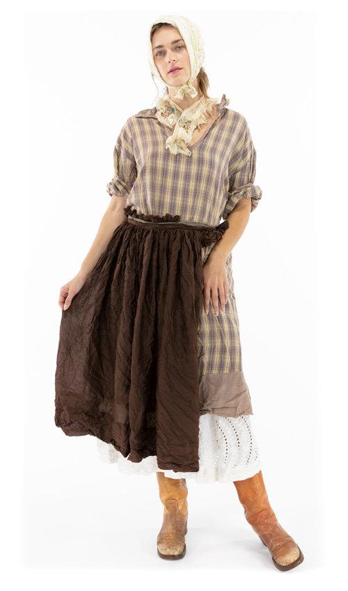 Cotton Silk Nathalia Ruffled Wrap Skirt Apron, Magnolia Pearl
