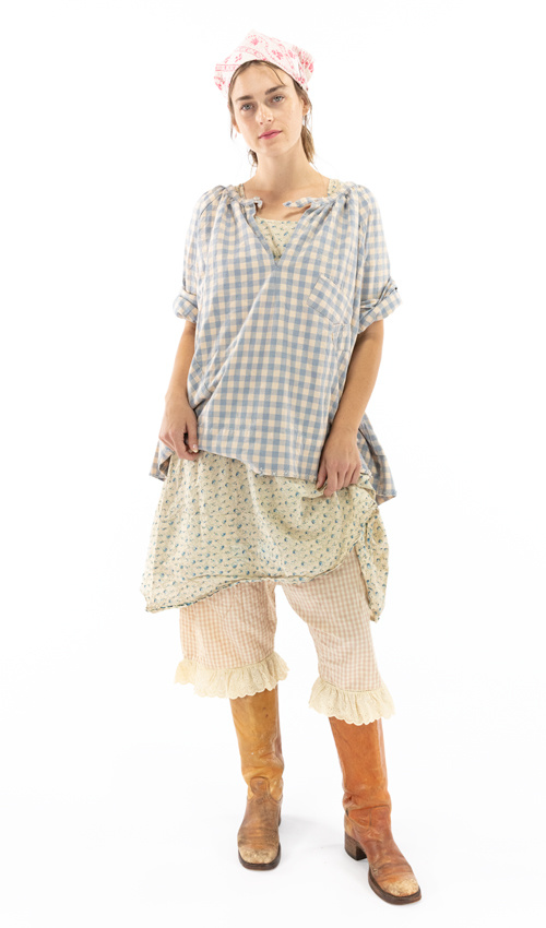 French Cotton Checked Top Shirt with Buttoned Keyhole Neckline, and Handstitched Patching - Magnolia Pearl