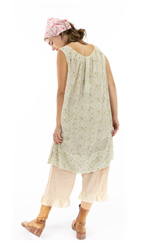 European Cotton Sleeveless Lilah Dress with Pintucks and a Scoop Neck - Magnolia Pearl