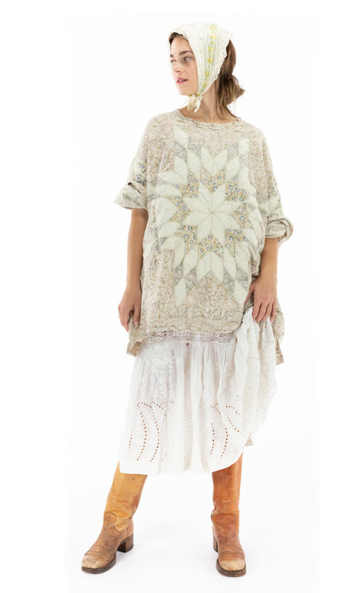 Cotton Poplin Quilted Oversized Francis Top with Fading and Hand Distressing, Magnolia Pearl