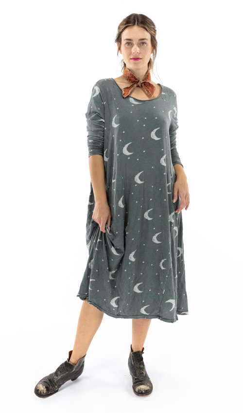 Cotton Jersey Crescent Moon and Stars Dylan T Dress, Magnolia Pearl
