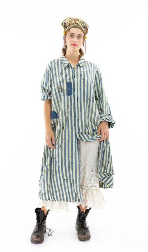 Cotton Denim Wells Painters Smock Coat with Front Pockets, Cinch Belt and Buttons, Magnolia Pearl