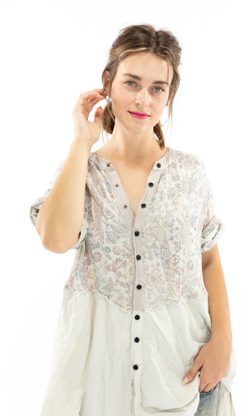 Cotton Twill Hand Block Print Sybeal Chemise Silk Trim Accents, Sunfading, Distressing and Black Buttons Down Front, Magnolia Pearl