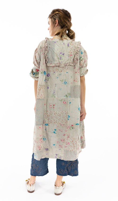 Patchwork Cotton Romina Dress with Snaps and Pleats Down the Front, Long Sleeves, and a Ruffled Collar