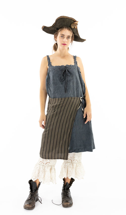 Woven Cotton Magnolia Pearl Artist Workshop Apron with Patching, Mending, and Hand Embroidered Straps