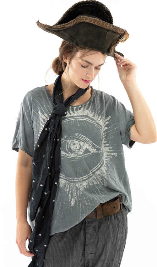 Cotton Jersey Rays of Glory T, Boyfriend Cut, Magnolia Pearl