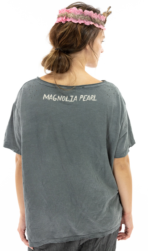 Cotton Jersey Swing From The Moon T, Boyfriend Cut, Magnolia Pearl