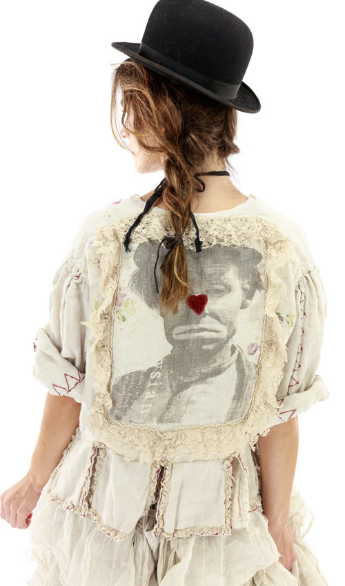 Cotton Twill Binky Jacket with Embroidery and Applique, Printed Lining, Hand Distressing and Fading, Antique Hooks, Magnolia Pearl