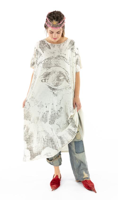 Cotton Jersey Freedom of Conscience T Dress, Boyfriend Cut, Magnolia Pearl