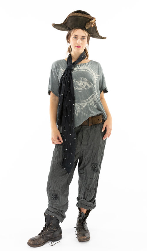 European Cotton Charmie Trousers with Patching, Hand Mending, Distressing, Buttons Waist and Cinch Belt, Magnolia Pearl