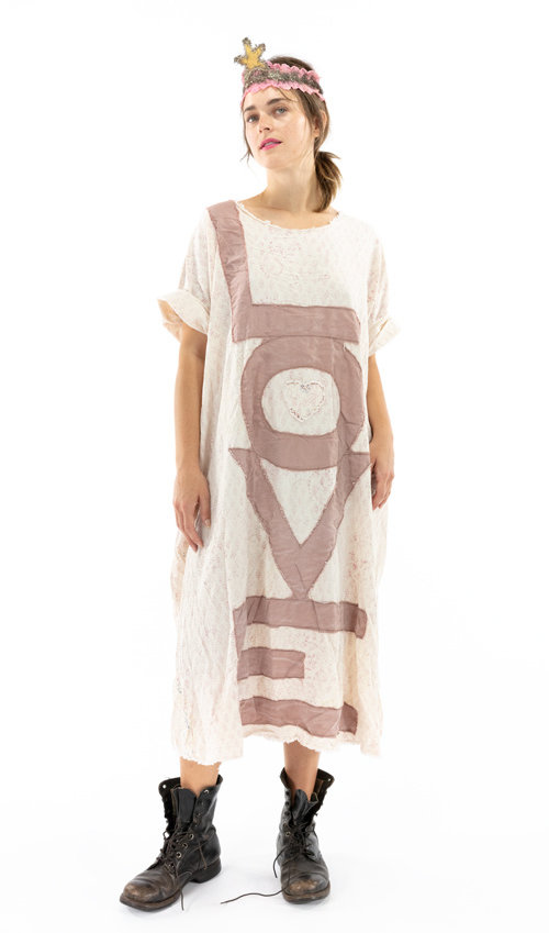 European Cotton Evolve Artist Smock Dress with Raw Neck and Edges, Fading and Pockets, Magnolia Pearl