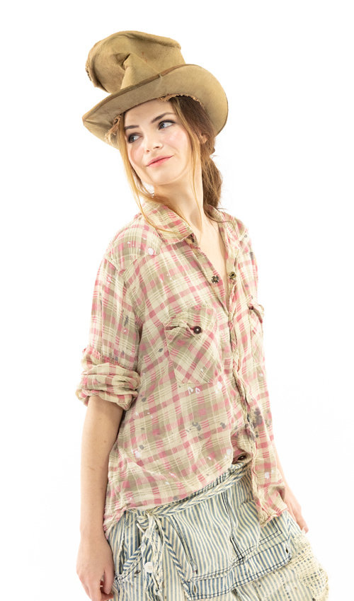 Cotton Twill Kelly Western Shirt with Embroidery at Back and Love Print, Fading and Distressing, Paints and Stains, Magnolia Pearl