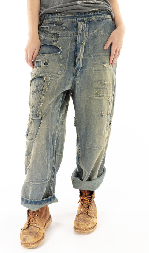 Cotton Sanforized Denims with Side Buttons, Hand Patching, Distressing and Fading, Magnolia Pearl