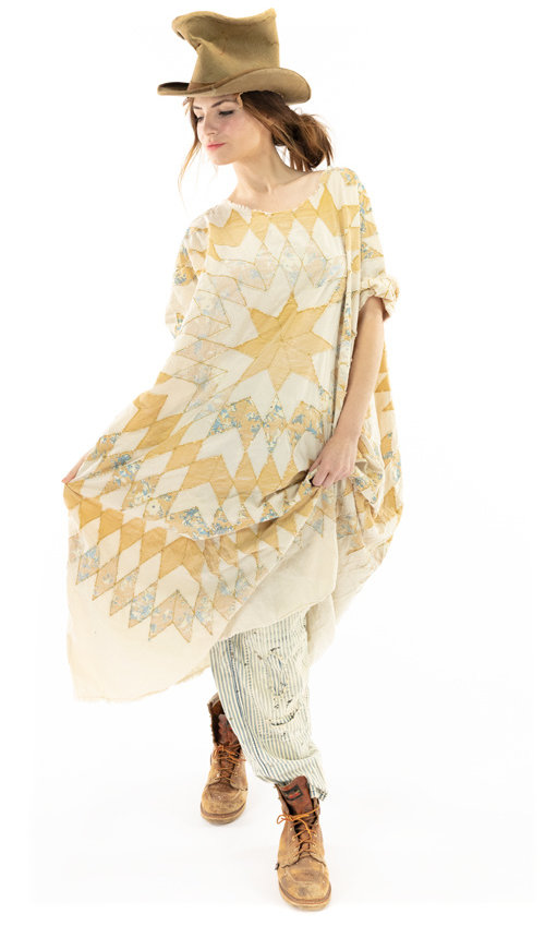 European Cotton Quiltwork Artist Smock Dress with Raw Neck and Edges, Fading and Pockets, Magnolia Pearl
