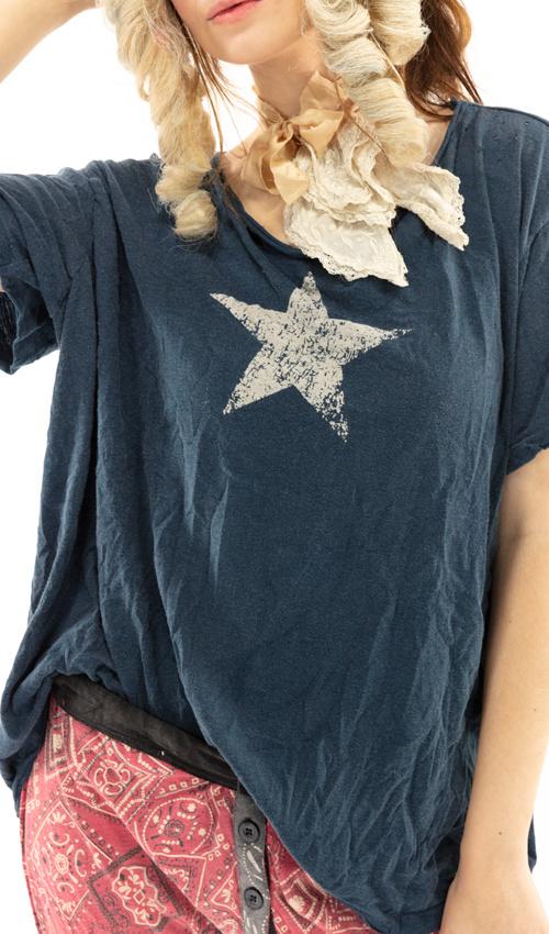 Cotton Jersey Preston Joseph Star T, Boyfriend Cut, Magnolia Pearl