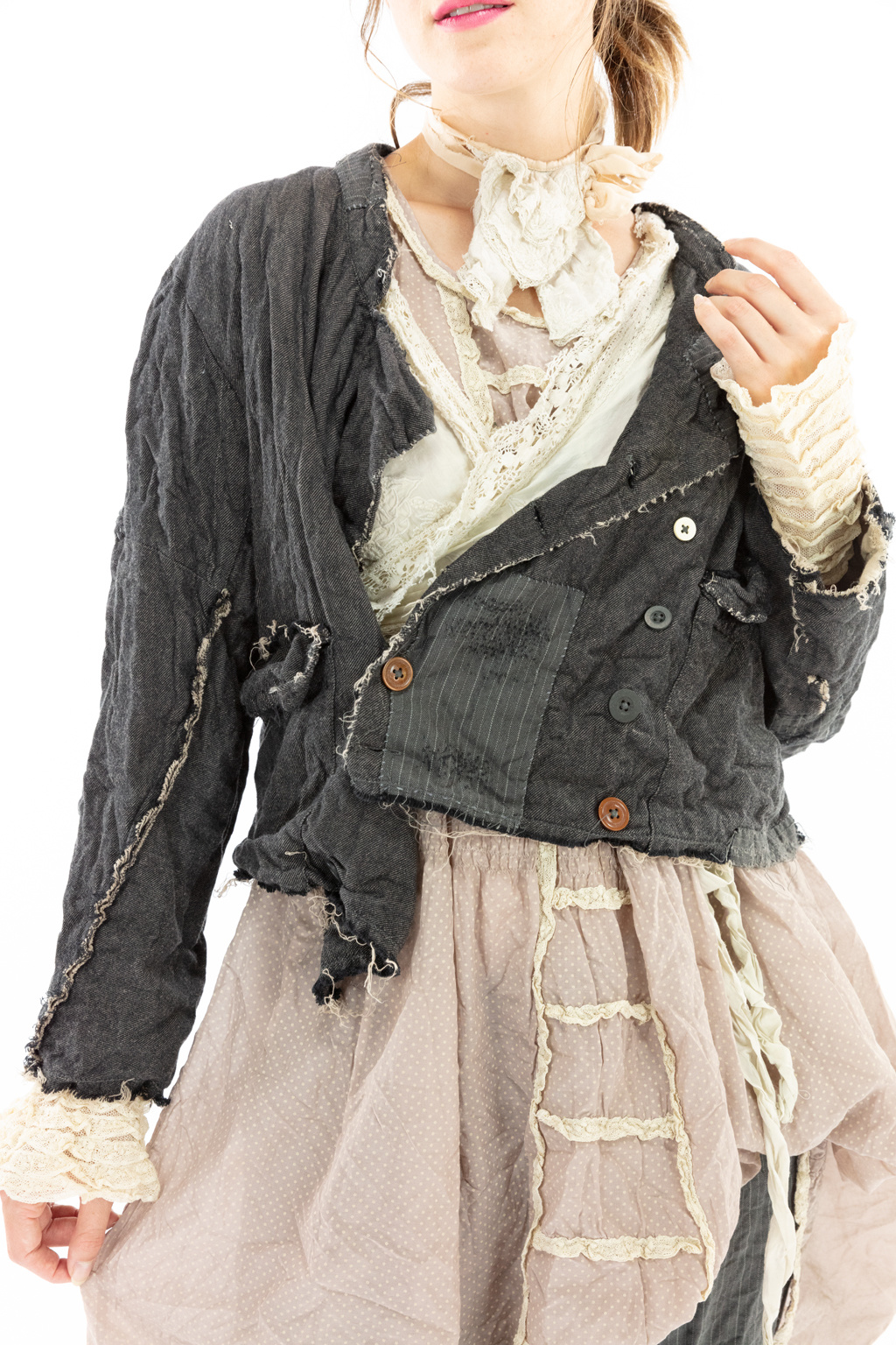 Woven Cotton Cropped Declan Jacket with Patches, Raw Edges, Hand Distressing, Double Brested Mixed Button Front, Magnolia Pearl