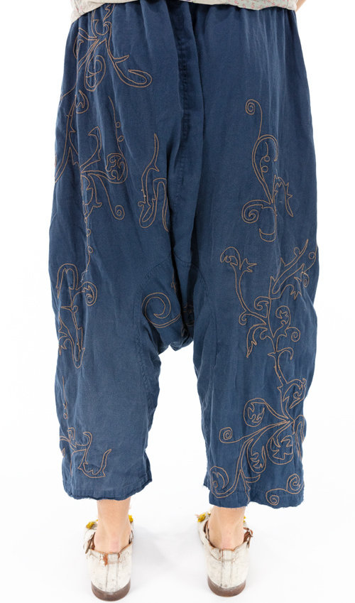 Cotton Satin and Cotton Silk Dragon Embroidered Garcon Trousers with Drawstring and Elastic Waist, Distressed Edges, Magnolia Pearl