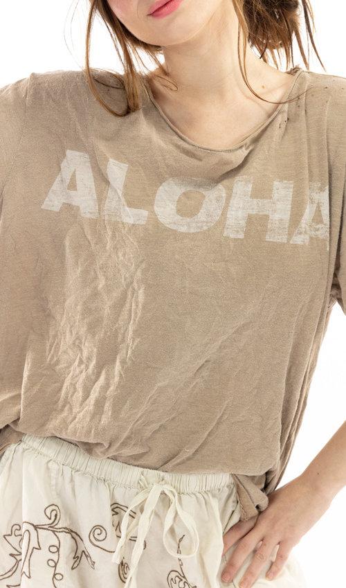 Cotton Jersey Aloha T, Boyfriend Cut, Magnolia Pearl
