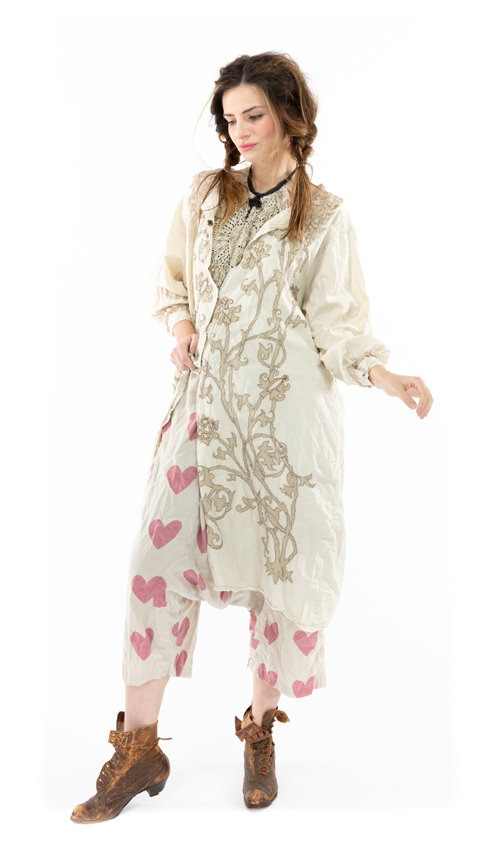 Cotton Satin Leola Embroidered Smock Coat with Tattered Lace, Hand Distressing, Fading and Snaps Down Front, Magnolia Pearl