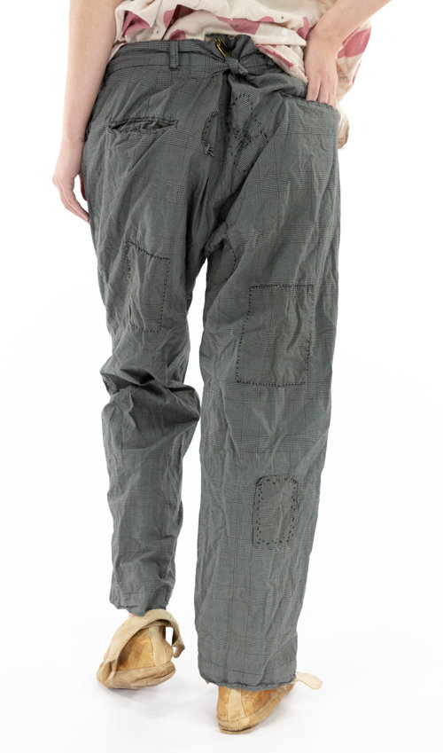 European Cotton Bobbie Trousers with Hand Fading, Distressing and Patching, Button Fly and Cinch Belt at Back, Magnolia Pearl