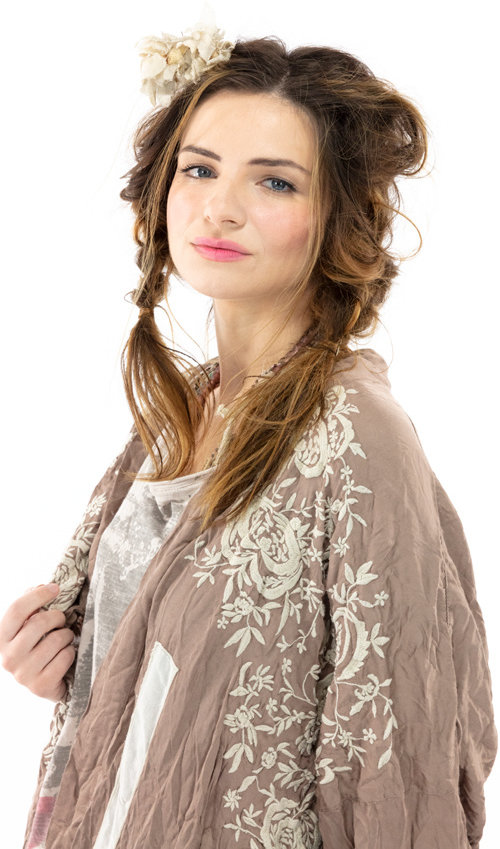 Modal Satin Blessed Kimono with Applique Details, Embroidery, Hand Distressing and Fading, Magnolia Pearl