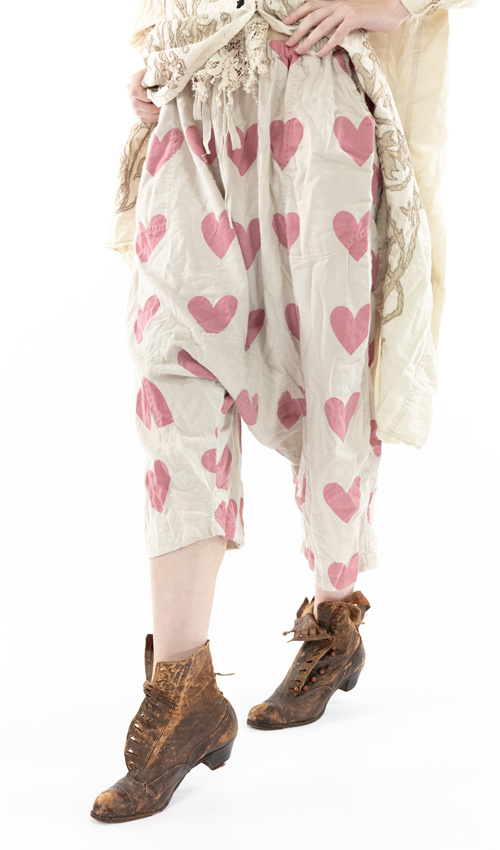 Cotton Twill Printed Garcon Trousers with Drawstring and Elastic Waist, Distressed Edges, Magnolia Pearl