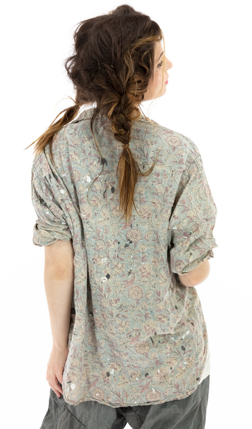 Cotton Twill Block Print Kelly Western Shirt with Paint and Stains, Hand Distressing and Fading, Magnolia Pearl