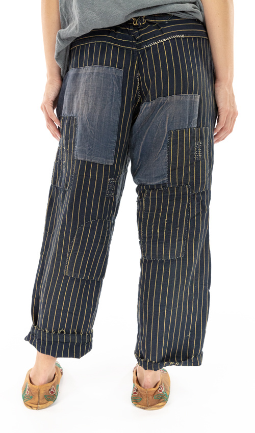 Cotton Linen Lilou Trousers with Hand Aging, Distressing, Mending and Patching, Button Waist and Buckle At Back, Magnolia Pearl, Depot, One Size