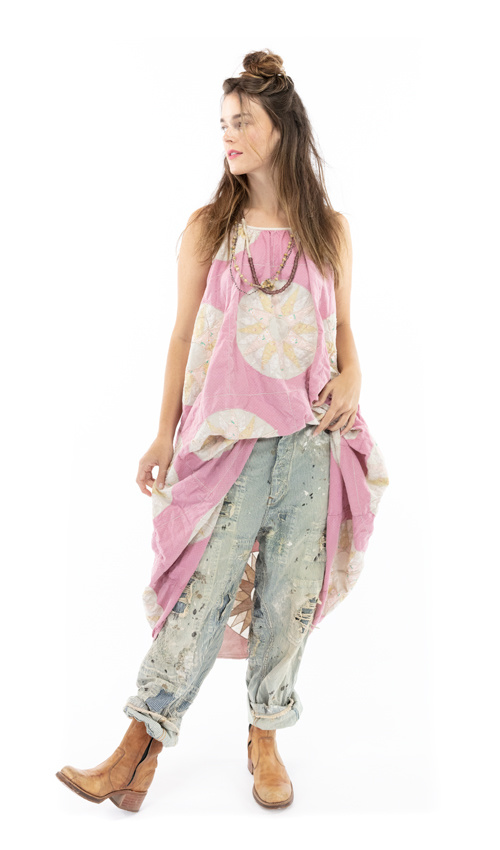 European Cotton Hand Block Print Audrey Slip with Applique Details, Adjustable Thin Straps, Raw Edges and Seams, Magnolia Pearl, Oma, One Size