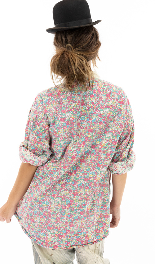 European Cotton Printed Boyfriend Shirt with Poplin Collar, Hand Distressing and Mixed Buttons, Magnolia Pearl, One Size