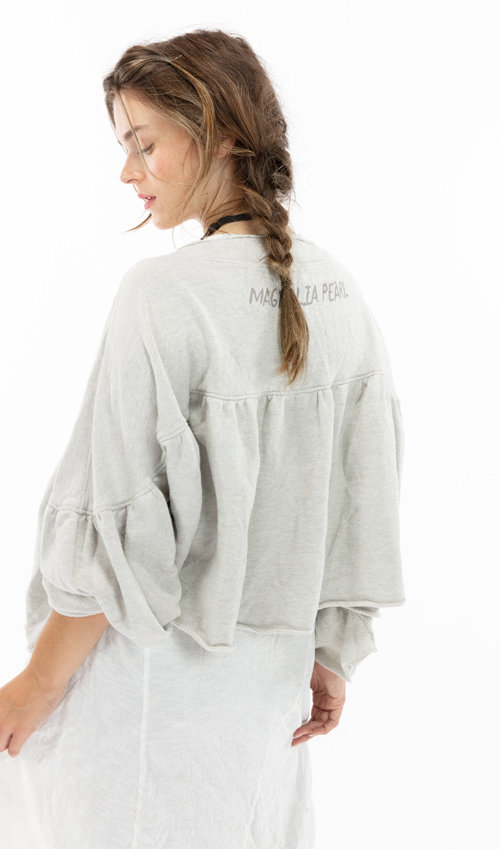 Cotton Terry Oversized Bonnie Sweater with Hand Distresssing and Fading, Magnolia Pearl, Woodland, One Size