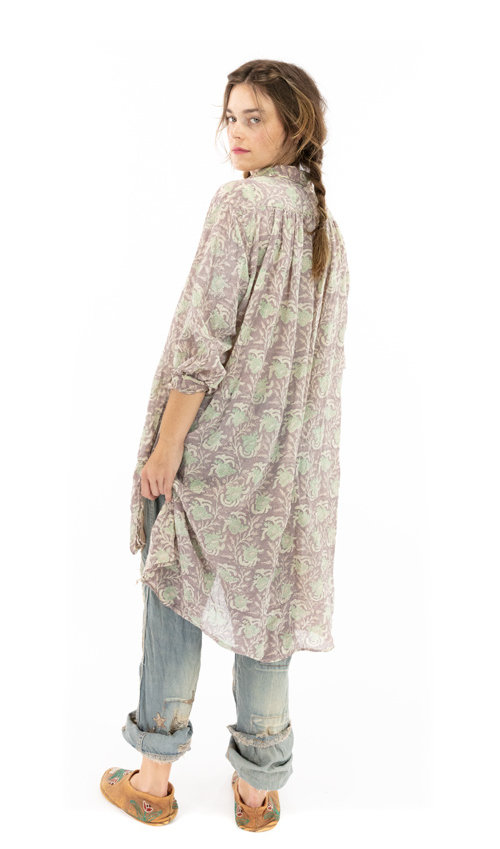 Cotton Gauze Block Print Cordelia Night Shirt with Button Placket and Pintuck Bib, Magnolia Pearl, Lissa, One Size