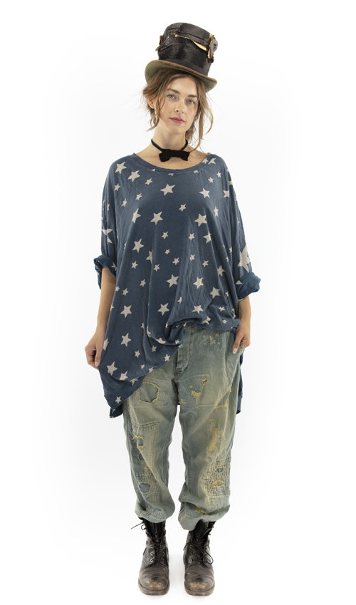 Cotton Jersey Oversized Galaxy Francis Pullover T with Distressing and Fading, Magnolia Pearl