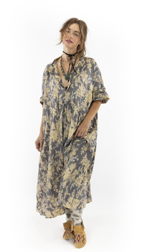 European Cotton Silke Dress with  Fading and Distressing, Snaps At Neckline, Magnolia Pearl