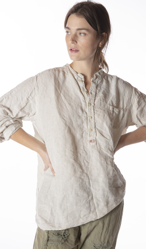European Cotton Idgy Mens Shirt with MP Cross Stitch, Pocket at Front and Distressing, Magnolia Pearl