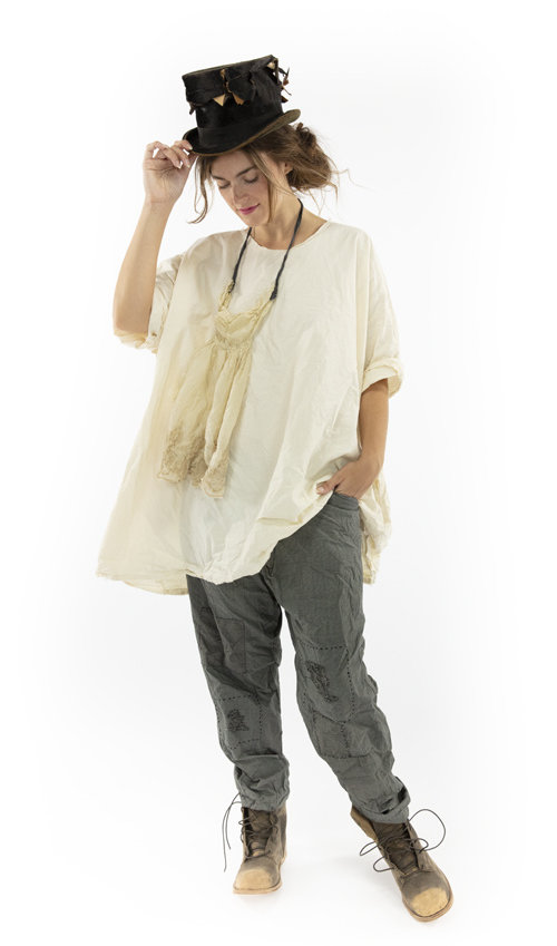 Cotton Poplin Zola Smock Top with Raw Edges and Pockets, Magnolia Pearl
